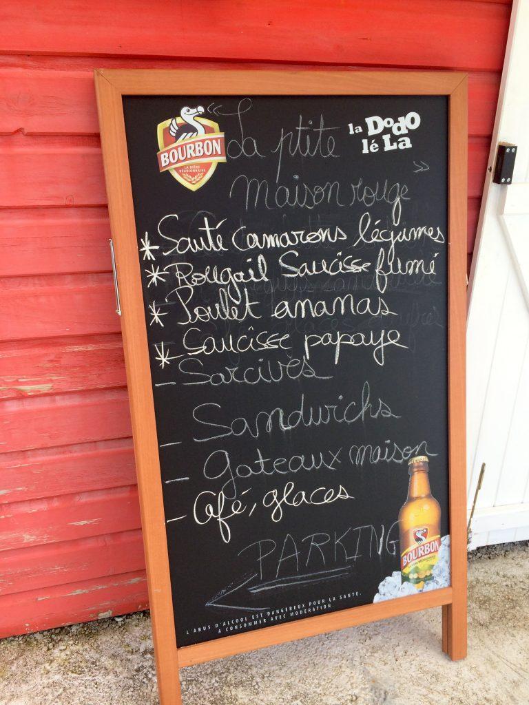 Avis Restaurant - Domaine des radiers - Sainte-Rose - menu